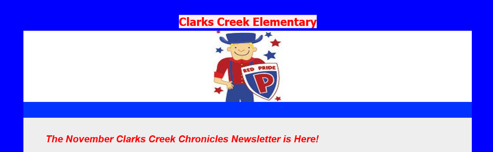 November Edition - Clarks Creek Chronicles Newsletter