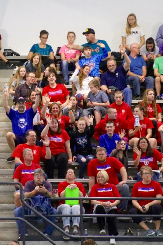 Friends & family provided an impressive cheer block for the Quaker swimmers