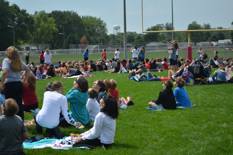The PCMS football field was the perfect spot for students and staff to view the eclipse.