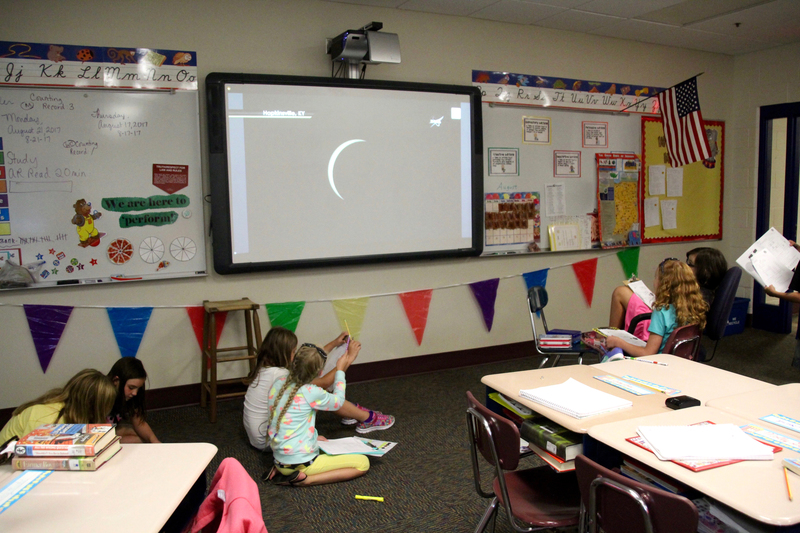 Working in small groups on writing prompts, Ms. Miller's 4th grade students kept a close eye on the NASA site as the eclipse drew near to Plainfield.