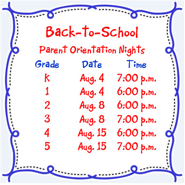 Back to School - Parent Orientation Nights